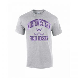 Northwestern Wildcats Youth Grey Short Sleeve Tee Shirt with Field Hockey Design