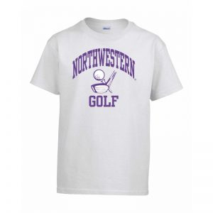 Northwestern Wildcats Men's White Short Sleeve Tee Shirt with Golf Design