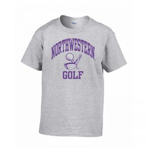 Northwestern Wildcats Men's Grey Short Sleeve Tee Shirt with Golf Design