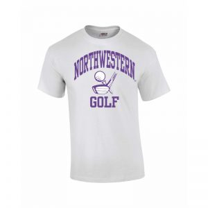 Northwestern Wildcats Youth White Short Sleeve Tee Shirt with Golf Design