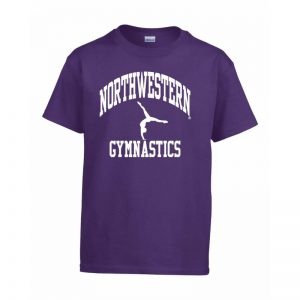 Northwestern Wildcats Men's Purple Short Sleeve Tee Shirt with Gymnastics Design