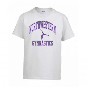 Northwestern Wildcats Men's White Short Sleeve Tee Shirt with Gymnastics Design