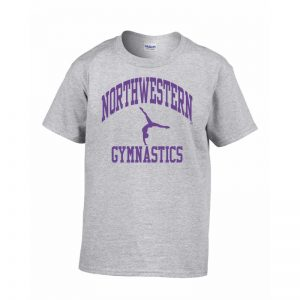 Northwestern Wildcats Grey Short Sleeve Tee Shirt with Gymnastics Design