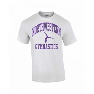 Northwestern Wildcats Youth White Short Sleeve Tee Shirt with Gymnastics Design