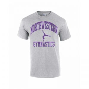 Northwestern Wildcats Youth Grey Short Sleeve Tee Shirt with Gymnastics Design