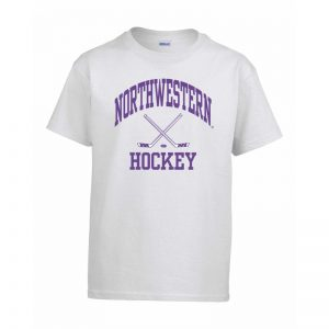Northwestern Wildcats Men's White Short Sleeve Tee Shirt with Hockey Design