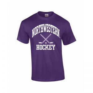 Northwestern Wildcats Youth Purple Short Sleeve Tee Shirt with Hockey Design