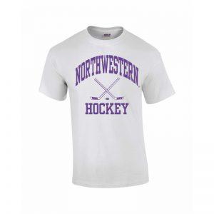 Northwestern Wildcats Youth White Short Sleeve Tee Shirt with Hockey Design
