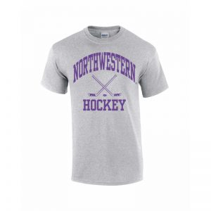 Northwestern Wildcats Youth Grey Short Sleeve Tee Shirt with Hockey Design