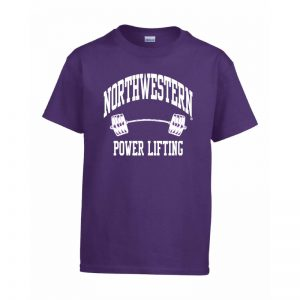 Northwestern Wildcats Men's Purple Short Sleeve Tee Shirt with Power Lifting Design