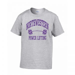 Northwestern Wildcats Men's Grey Short Sleeve Tee Shirt with Power Lifting Design