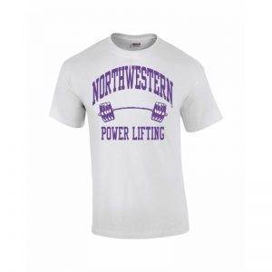 Northwestern Wildcats Youth White Short Sleeve Tee Shirt with Power Lifting Design