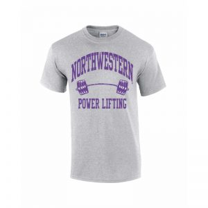 Northwestern Wildcats Youth Grey Short Sleeve Tee Shirt with Power Lifting Design