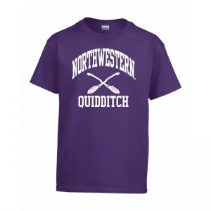 Northwestern Wildcats Men's Purple Short Sleeve Tee Shirt with Quidditch Design