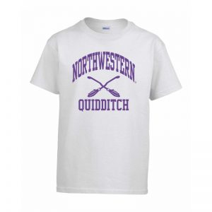 Northwestern Wildcats Men's White Short Sleeve Tee Shirt with Quidditch Design