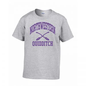 Northwestern Wildcats Men's Grey Short Sleeve Tee Shirt with Quidditch Design