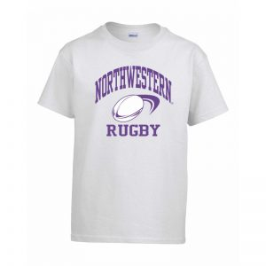 Northwestern Wildcats Men's White Short Sleeve Tee Shirt with Rugby Design