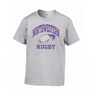 Northwestern Wildcats Men's Grey Short Sleeve Tee Shirt with Rugby Design
