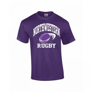 Northwestern Wildcats Youth Purple Short Sleeve Tee Shirt with Rugby Design
