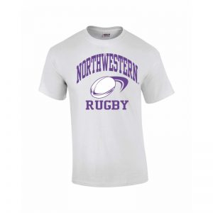 Northwestern Wildcats Youth White Short Sleeve Tee Shirt with Rugby Design
