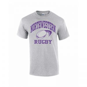 Northwestern Wildcats Youth Grey Short Sleeve Tee Shirt with Rugby Design