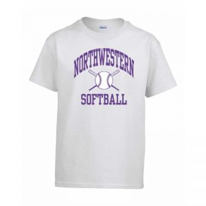 Northwestern Wildcats Men's White Short Sleeve Tee Shirt with Softball Design