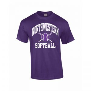 Northwestern Wildcats Youth Purple Short Sleeve Tee Shirt with Softball Design