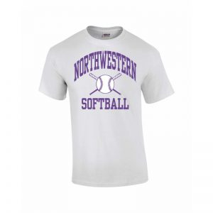 Northwestern Wildcats Youth White Short Sleeve Tee Shirt with Softball Design