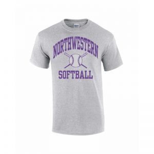 Northwestern Wildcats Youth Grey Short Sleeve Tee Shirt with Softball Design