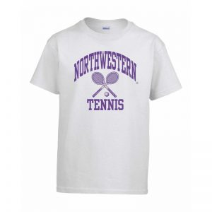 Northwestern Wildcats Men's White Short Sleeve Tee Shirt with Tennis Design