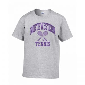 Northwestern Wildcats Men's Grey Short Sleeve Tee Shirt with Tennis Design