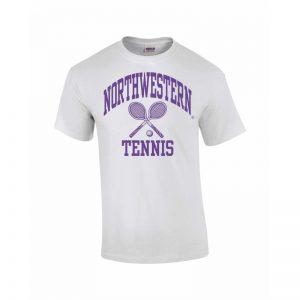 Northwestern Wildcats Youth White Short Sleeve Tee Shirt with Tennis Design