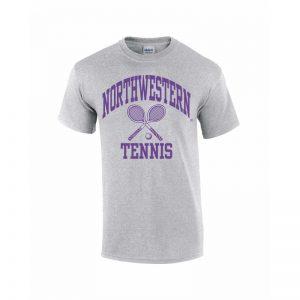 Northwestern Wildcats Youth Grey Short Sleeve Tee Shirt with Tennis Design