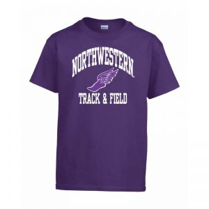 Northwestern Wildcats Men's Purple Short Sleeve Tee Shirt with Track & Field Design
