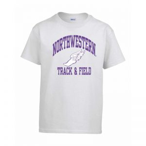 Northwestern Wildcats Men's White Short Sleeve Tee Shirt with Track & Field Design