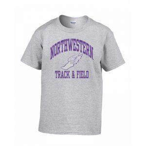 Northwestern Wildcats Men's Grey Short Sleeve Tee Shirt with Track & Field Design