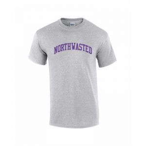"Men's Grey Short Sleeve Tee Shirt with ""Northwasted"" Design"