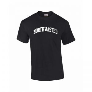 "Men's Black Short Sleeve Tee Shirt with ""Northwasted"" Design"