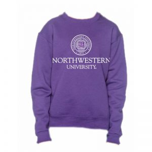 Northwestern University Wildcats Youth Purple Crewneck Sweatshirt with Northwestern University Seal Design