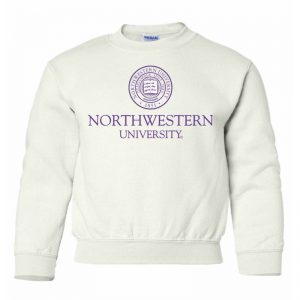 Northwestern University Wildcats Youth White Crewneck Sweatshirt with Northwestern University Seal Design