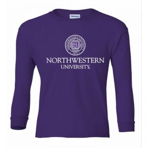 Northwestern Wildcats Youth Purple Long Sleeve Tee Shirt with Northwestern University Seal Design