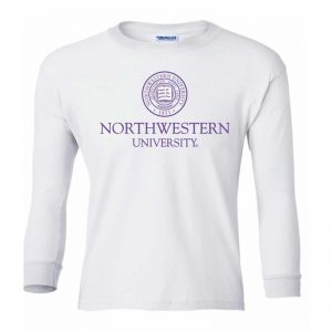 Northwestern Wildcats Youth White Long Sleeve Tee Shirt with Northwestern University Seal Design