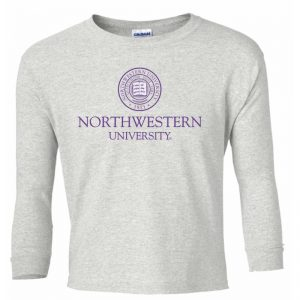 Northwestern Wildcats Youth Light Grey Long Sleeve Tee Shirt with Northwestern University Seal Design