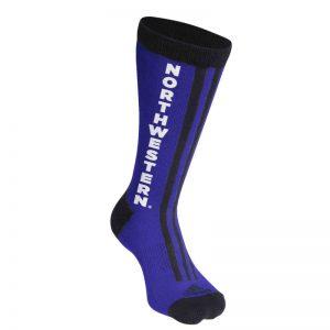 Northwestern University Wildcats Adult Purple & Black Stripped Socks