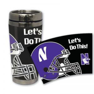 Northwestern Wildcats 16 oz Stainless Steel Travel Mug with Football Design