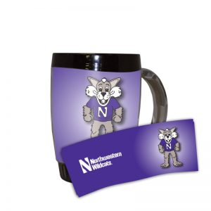 Northwestern Wildcats 14 oz. Willie the Wildcat Design Desk Mug with Lid