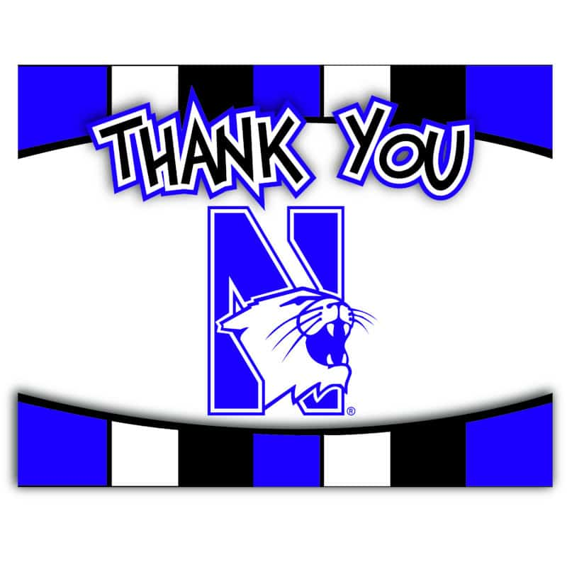 """Northwestern Wildcats """"Thank You"""" Cards with Envelopes"""