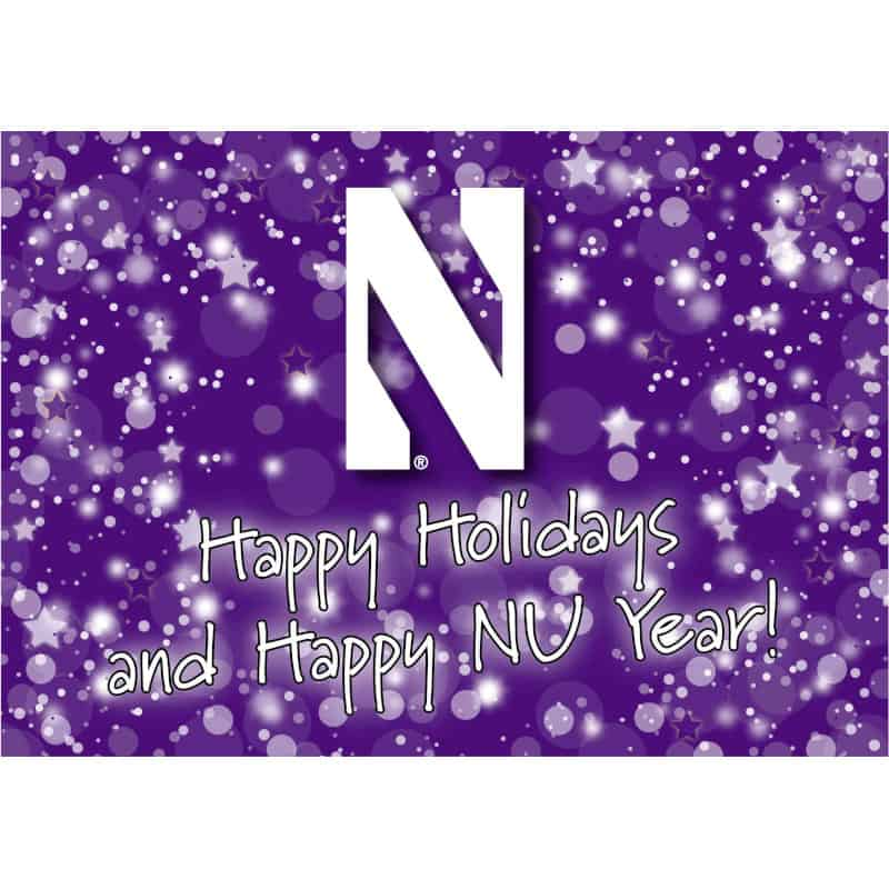 """Northwestern Wildcats """"Happy Holidays & Happy New Year"""" Notecard with Envelope"""