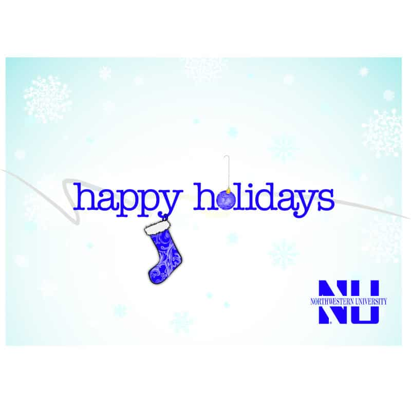 """Northwestern Wildcats """"Happy Holidays"""" Notecard with Envelope"""