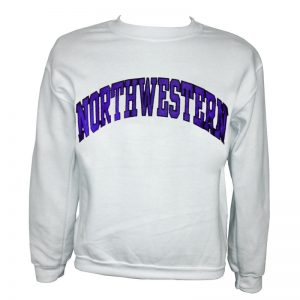 Northwestern Wildcats White Crewneck Sweatshirt with Full Chest Embroidered Northwestern Design